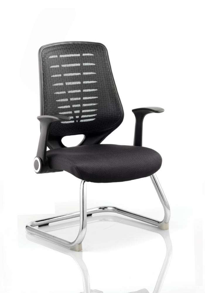 Relay Cantilever Meeting Chair Folding Arms Chrome Frame Black Air-mesh Seat Black/Silver Mesh Back